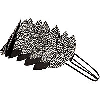 Grey diamante embellished leaf head band