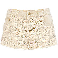 Cream Chelsea Girl lace overlay denim shorts