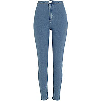 Mid wash denim tube pants