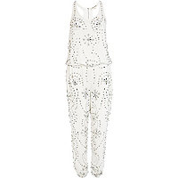 White gem stone embellished jumpsuit