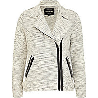 Cream marl soft biker jacket
