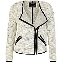 Cream marl soft contrast trim biker jacket