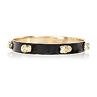 Black skull enamel bangle