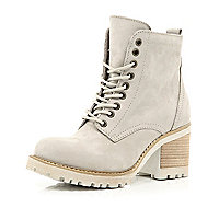 Grey block heel worker boots