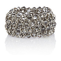 Silver tone faceted bead stretch bracelet