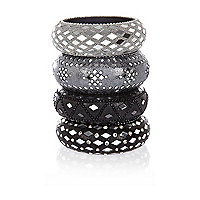 Grey mirror embellished bangle pack