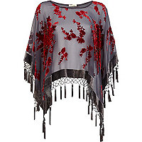 Grey floral print sheer tassel cape