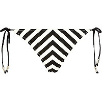 Black and white stripe bikini briefs