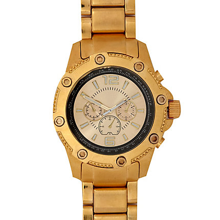 Burnished gold tone chunky watch