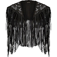 Black laser cut fringed cape