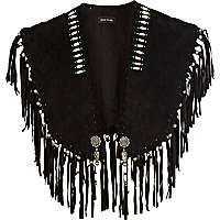 Black leather fringed cape