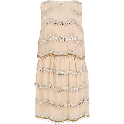 Pink embellished sleeveless flapper dress
