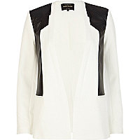 Black and white perforated panel blazer