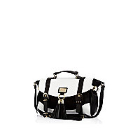 Black and white colour block satchel