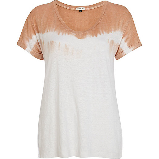 Brown linen dip dye t-shirt