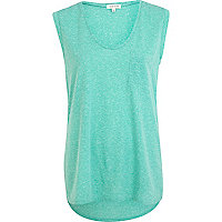 Aqua low scoop neck tank top