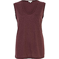 Dark red low scoop tank top