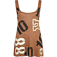 Brown linen number print longline vest
