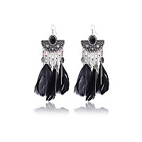 Black half disk feather drop earrings