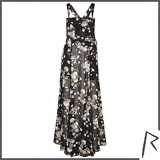 Black floral print Rihanna overall maxi dress