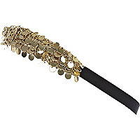Gold tone multi coin stretch hair band