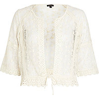 Cream crochet 3/4 sleeve shacket