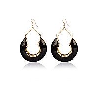 Black chunky half hoop drop earrings
