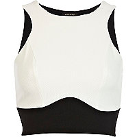 Black and white panelled crop top