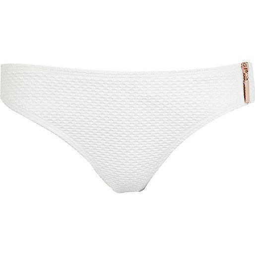 White textured zip bikini bottoms