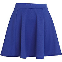 Bright blue textured skater skirt
