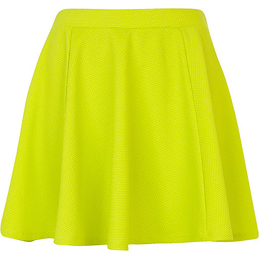 Lime textured skater skirt