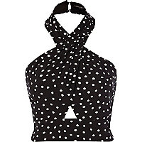 Black and white polka dot halter crop top