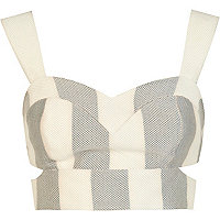 Grey and white stripe cut out bralet