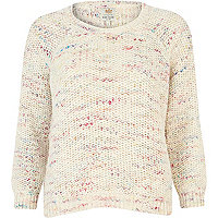 Cream multicoloured crop jumper