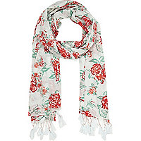 Cream rose print lightweight scarf