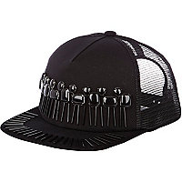 Black gem embellished mesh back cap