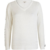 White chain embellished V neck jumper