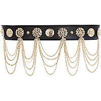 Black multi chain waist belt
