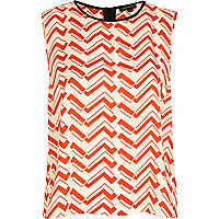 Red chevron print sleeveless top