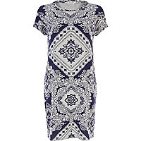 Navy bandana print t-shirt tube dress