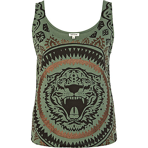 Green metallic tiger print tank top
