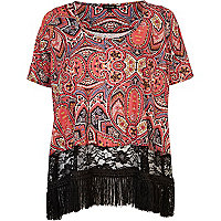 Red paisley print fringed t-shirt