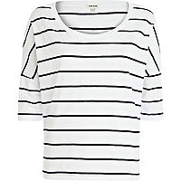 Navy and white stripe boxy 3/4 sleeve t-shirt