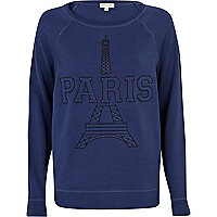 Navy 3D embroidered Paris dolman sweat