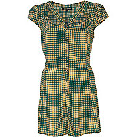 Green tile print cut out playsuit