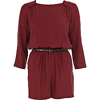 Rust red 3/4 sleeve smart playsuit