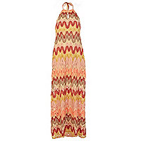 Orange Chelsea Girl zig zag maxi dress