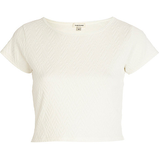 White textured cap sleeve crop top