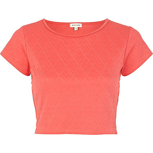 Coral textured cap sleeve crop top