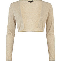 Gold metallic cropped bolero cardigan